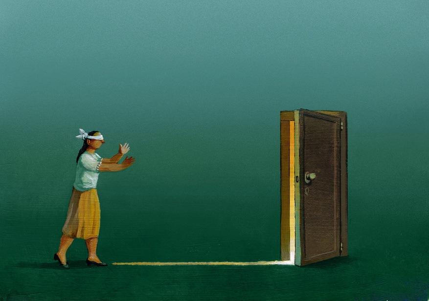 blindfolded woman walking toward the light of an open door